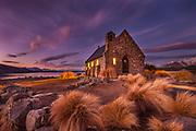 Church of Good Shepherd, winter evening, Lake Tekapo, Mackenzie Country, Canterbury, New Zealand
