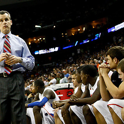 Mar 26, 2011; New Orleans, LA;  Florida Gators head coach Billy Donovan against the Butler Bulldogs during overtime in the semifinals of the southeast regional of the 2011 NCAA men's basketball tournament at New Orleans Arena. Butler defeated Florida 74-71.  Mandatory Credit: Derick E. Hingle