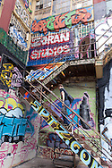 USA, New York city, Queens,  long island city ,  Aerosol art and artists in Five points  , art graffiti on the walls of a commercial building, Phun factory ,