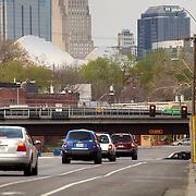 Traffic on Southwest Boulevard leading into downtown Kansas City, MO.