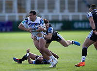 Rugby Union - 2020 / 2021 Gallagher Premiership - Round 13 - Newcastle Falcons vs Bath - Kingston Park<br /> <br /> Josh Matavesi of Bath is tackled by Mateo Carreras of Newcastle Falcons <br /> <br /> Credit : COLORSPORT/BRUCE WHITE