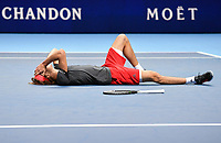Tennis - 2018 Nitto ATP Finals at The O2 - Day Eight<br /> <br /> Final Singles: Novak Djokovic (SRB) vs. Alexander Zverev (GER)<br /> <br /> Zverev flat out on his back as he claims the title 6-4, 6-3.<br /> <br /> COLORSPORT/ASHLEY WESTERN