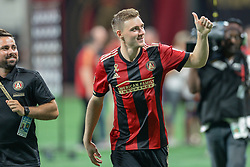 September 22, 2018 - Atlanta, GA, U.S. - ATLANTA, GA Ð SEPTEMBER 22:  Atlanta's Julian Gressel (24) gives a thumbs up to the crowd following the conclusion of the match between Atlanta United and Real Salt Lake on September 22nd, 2018 at Mercedes-Benz Stadium in Atlanta, GA.  Atlanta United FC defeated Real Salt Lake by a score of 2 to 0.  (Photo by Rich von Biberstein/Icon Sportswire) (Credit Image: © Rich Von Biberstein/Icon SMI via ZUMA Press)