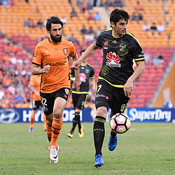 BRISBANE, AUSTRALIA - APRIL 16: Guilherme Finkler of the Phoenix dribbles the ball during the round 27 Hyundai A-League match between the Brisbane Roar and Wellington Phoenix at Suncorp Stadium on April 16, 2017 in Brisbane, Australia. (Photo by Patrick Kearney/Brisbane Roar)