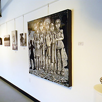 """Artist Kabu's """"Children of the Night"""" was one of the biggest portraits at the Route 66 Gallery's Black and White Summer show Saturday  in Grants."""