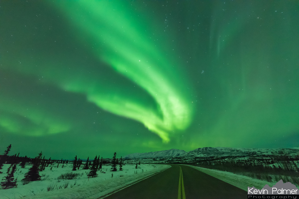 At first the aurora was confined low on the northern horizon. But then it brightened and filled the sky. It's not often I can shoot a time lapse on a highway. But traffic was very light.