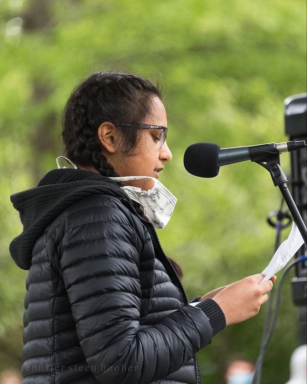 Bar Harbor, Maine, USA. 7 June, 2020. Sirohi Kumar, a student at Mount Desert Island High School, speaks at the MDI March and Rally In Solidarity with Black Lives Matter.