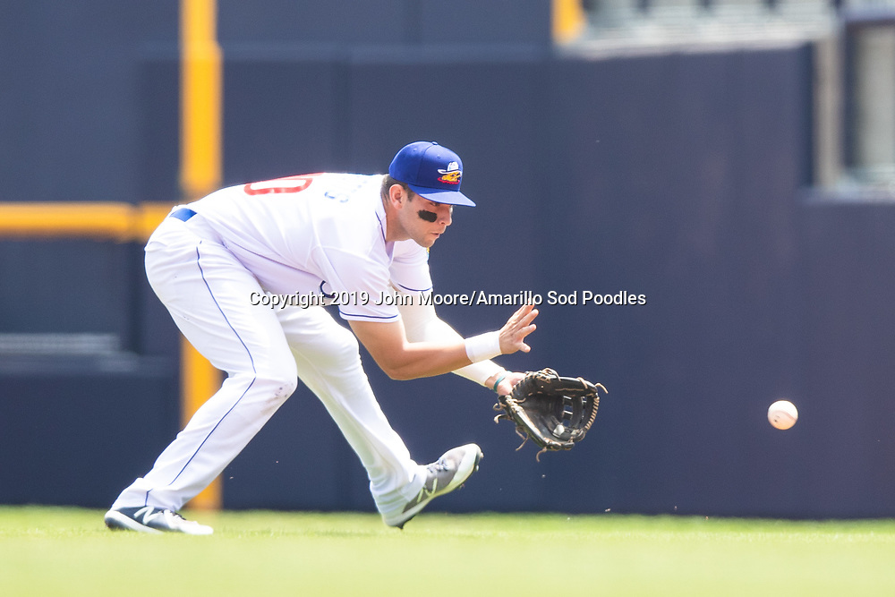 Amarillo Sod Poodles infielder Hudson Potts (10) fields the ball against the Arkansas Travelers on Sunday, May 5, 2019, at HODGETOWN in Amarillo, Texas. [Photo by John Moore/Amarillo Sod Poodles]