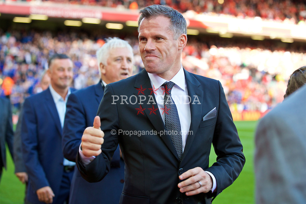 LIVERPOOL, ENGLAND - Saturday, September 10, 2016: Former Liverpool player Jamie Carragher before the FA Premier League match against Leicester City at Anfield. (Pic by David Rawcliffe/Propaganda)