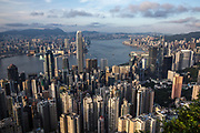 Hong Kong's skyline of skyscrapers from The Peak, Hong Kong on June 30th, 2019.  Photo by Suzanne Lee/PANOS for MacLean's