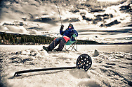 Spring ice fishing in the Yukon with long days and thick ice!