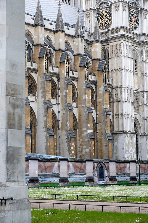 Building hoarding has been erected around some of Westminster Abbey on the the 25th of May 2021in Westminster, Central London. The Hoarding is disguised to look like part of the abbey including images of pillars and doors to dilute the impact of the building work.  (photo by Andrew Aitchison / In pictures via Getty Images)