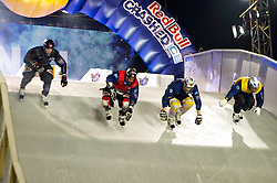 04-02-2012 SKATING: RED BULL CRASHED ICE WORLD CHAMPIONSHIP: VALKENBURG<br /> (L-R) Kyle Croxall CAN (winner of the tournament), Scott Croxall CAN, Fabian Mels GER, Paavo Klintrup FIN during the final<br /> ©2012-FotoHoogendoorn.nl / Peter Schalk