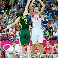 08 August 2012: Russia Sergey Monya takes a three points jumpshot over Lithuania Martynas Pocius during 83-74 Team Russia victory over Team Lithuania, during the men's basketball quarter-finals, at the 02 Arena, in London, Great Britain.