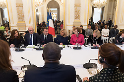Wided Bouchamaoui, Philippe Etienne, Emmanuel and Brigitte Macron, Alice Albright and Jamie Mc Courtv during the first meeting of the G7 Gender Equality Advisory Council in Paris, France, on February 19, 2019. Photo by Jacques Witt/Pool/ABACAPRESS.COM