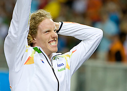 Steven Hooker of Australia celebrates winning the gold medal in the men's Pole Vault Final during day eight of the 12th IAAF World Athletics Championships at the Olympic Stadium on August 22, 2009 in Berlin, Germany. (Photo by Vid Ponikvar / Sportida)