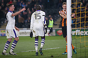 Newcastle United midfielder Mohamed Diame (15) scores a goal and celebrates to make the score 0-1 during the EFL Quarter Final Cup match between Hull City and Newcastle United at the KCOM Stadium, Kingston upon Hull, England on 29 November 2016. Photo by Simon Davies.