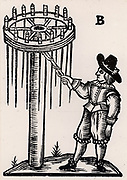 An Artificer or Pyrotechnist setting light to 'Another fixed Wheel upon a post, which will cast forth many Rockets into the Aire'.  From 'A Rich Cabinet, with Variety of Inventions' by John White (London, 1658).