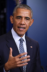WASHINGTON, Nov. 15, 2016 (Xinhua) -- U.S. President Barack Obama speaks at his first press conference since last week's presidential election at the White House in Washington D.C., the United States, Nov. 14, 2016. Obama said on Monday that his successor Donald Trump, a frequent North Atlantic Treaty Organization (NATO) critic on the presidential campaign trail, was committed to NATO. .(Xinhua/Yin Bogu) (yy) (Credit Image: © Yin Bogu/Xinhua via ZUMA Wire)
