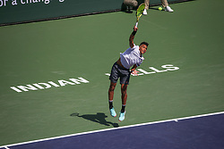 March 9, 2019 - Indian Wells, CA, U.S. - INDIAN WELLS, CA - MARCH 09: Felix Auger-Aliassime (CAN) serves during the BNP Paribas Open on March 9, 2019 at Indian Wells Tennis Garden in Indian Wells, CA. (Photo by George Walker/Icon Sportswire) (Credit Image: © George Walker/Icon SMI via ZUMA Press)