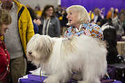 A handler with a hairdo coordinated with her dog's in the benching area of the Westminster Kennel Club dog show.