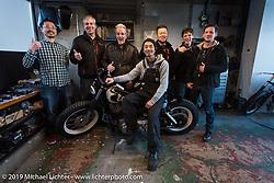 Harley-Davidson design team members visit the Hide Motorcycles shop. (L>R) Hide's assistant, Stuart Farrell (head of HD Japan) head of Design Ray Drea, Hide (Hideya Togashi), Dais Nagao, Charlie Wartgow and Ben McGinley. Kawasaki, Japan. Tuesday, December 9, 2014. Photograph ©2014 Michael Lichter.