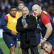 Scotland v England. RBS 6 Nations Championship. England manager Eddie Jones during the players warm up before the match.  Feb 6th 2016 in Edinburgh, Scotland.