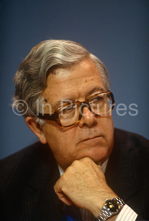 Deputy Prime Minister of the United Kingdom and Conservative MP, Geoffrey Howe at the Conservative party conference on 11th October 1990 in Blackpool, England.  His resignation on 1 November 1990 is widely considered by the British press to have precipitated Prime Minister Margaret Thatchers own resignation three weeks later, resulting in the end of her 11 year political career.
