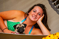 Teenaged girl on a hammock with her pug (dog), Littleton, Colorado USA