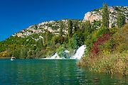 Tour boat and cascades on the Krka River, Roski Slap, Krka National Park, Dalmatia, Croatia
