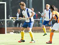 GROENEKAN -  Voordaan  speler Bram Weers   tijdens de Hockey hoofdklasse competitiewedstrijd tussen de mannen van Voordaan en Oranje Zwart (3-4).   COPYRIGHT KOEN SUYK