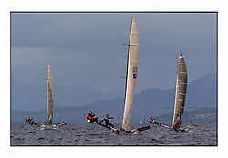 The 2004 Skiff Nationals at Largs held by the SSI.<br /> <br /> Hermes helmed by Grant Rollerson.<br /> <br /> Marc Turner / PFM Pictures
