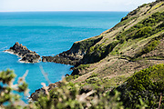 Blue sea surrounding the headland and cliff paths on the North coast of Jersey in Spring. Woman jogging along the cliff paths.