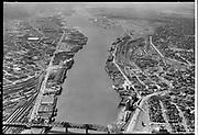 """Dock Commission. Aerial of Lower Harbor. June 6, 1955"""