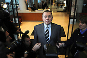 Willie Walsh, CEO of British Airways talks to the press after negotiations break down between BA and Unison at the TUC offices in Great Russell Street, London on 19 March 2010 failing to prevent a strike at the airline by cabin staff. © under license to London News Pictures...