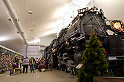 "Wisconsin USA, the national railroad museum at Green Bay, WI. ""Big Boy"", the biggest steam engine ever built with Christmas decorations November 2006"
