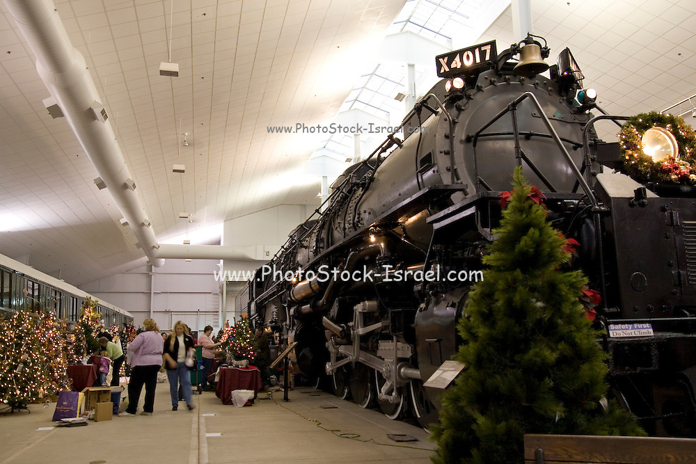 """Wisconsin USA, the national railroad museum at Green Bay, WI. """"Big Boy"""", the biggest steam engine ever built with Christmas decorations November 2006"""