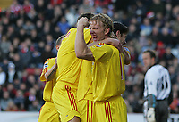 Photo: Lee Earle.<br /> Charlton Athletic v Liverpool. The Barclays Premiership. 16/12/2006. Liverpool's Dirk Kuyt celebrates after Xabi Alonso scored from the penalty spot.