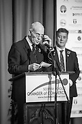 Jack Clark Convenor of SBCC, announcing the winner of the Outstanding Achievement Award.<br /> <br /> The 2015 Scottish Border Business Awards, held at Springwood Hall, Kelso. The awards were run by the Scottish Borders Chambers of Commerce, with guest speaker Keith Brown, MSP. The SBCC chairman Jack Clark and the presenter Fiona Armstrong co hosted the event.