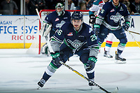 KELOWNA, CANADA - APRIL 25: Nolan Volcan #26 of the Seattle Thunderbirds skates against the Kelowna Rockets on April 25, 2017 at Prospera Place in Kelowna, British Columbia, Canada.  (Photo by Marissa Baecker/Shoot the Breeze)  *** Local Caption ***