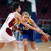 Lotos Gdynia's Adrijana KNEZEVIC (R) during their woman Euroleague group A matchday 5 Galatasaray between Lotos Gdynia at the Abdi Ipekci Arena in Istanbul at Turkey on Wednesday, November 09 2011. Photo by TURKPIX