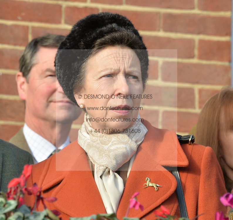 HRH The PRINCESS ROYAL at the 2013 Hennessy Gold Cup at Newbury Racecourse, Berkshire on 30th November 2013.