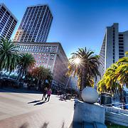Market Street at the Embarcadero, downtown San Francisco CA.