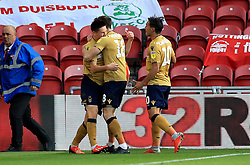 Nottingham Forest's Joe Lolley (left) celebrates scoring his side's first goal of the game during the Sky Bet Championship match at Riverside Stadium, Middlesbrough. Picture date: Saturday October 6, 2018. See PA story SOCCER Middlesbrough. Photo credit should read: Owen Humphreys/PA Wire.