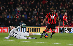 AFC Bournemouth's Jordon Ibe trys to get round Manchester City goalkeeper Willy Caballero (left) during the Premier League match at the Vitality Stadium, Bournemouth.