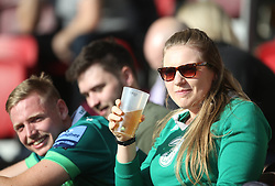 London Irish fans in the stands during the Gallagher Premiership match at the Brentford Community Stadium, London. Picture date: Saturday October 9, 2021.