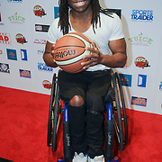 London,England,UK. 14th May 2017. Ade Adepitan attends the BBL Play-Off Finals also fundraising for Hoops Aid 2017 but also a major fundraising opportunity for the Sports Traider Charity at London's O2 Arena, UK. by See Li