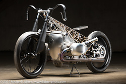 The Birdcage, an artful custom that utilizes BMW's new big boxer engine purported to be 1,800 cc (BMW will not confirm this yet) was designed and built by Alan Stulberg with his team at Revival Cycles Austin. It was their intent to have an open design so the powerplant can be seen from every angle. The Handbuilt Show. Austin, Texas USA. Friday, April 12, 2019. Photography ©2019 Michael Lichter.