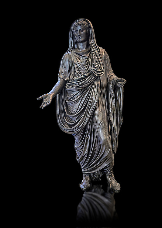 Roman bronze staue of Augustus Ceasar as Pontifex Maximus, late first century B.C, Naples National Archaeological Museum, black background ..<br /> <br /> If you prefer to buy from our ALAMY STOCK LIBRARY page at https://www.alamy.com/portfolio/paul-williams-funkystock/greco-roman-sculptures.html . Type -    Naples    - into LOWER SEARCH WITHIN GALLERY box - Refine search by adding a subject, place, background colour, etc.<br /> <br /> Visit our ROMAN WORLD PHOTO COLLECTIONS for more photos to download or buy as wall art prints https://funkystock.photoshelter.com/gallery-collection/The-Romans-Art-Artefacts-Antiquities-Historic-Sites-Pictures-Images/C0000r2uLJJo9_s0
