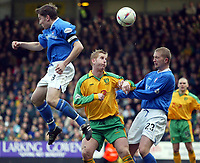 Photo:Scott Heavey<br />Norwich City V Ipswich Town. 02/03/03.<br />Iwan Roberts of Norwich comes close with a header but cant convert during this Nationwide division 1 match.